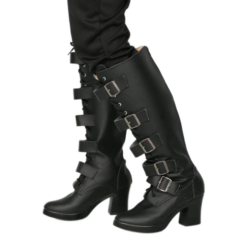 Xcoser Underworld Selene Boots Deluxe Black Pu Knee-High Cosplay Shoes - 6