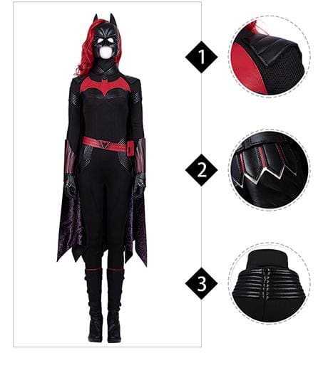 Xcoser Batwoman 2019 Batwoman Cosplay Jumpsuit Costume Without Boots