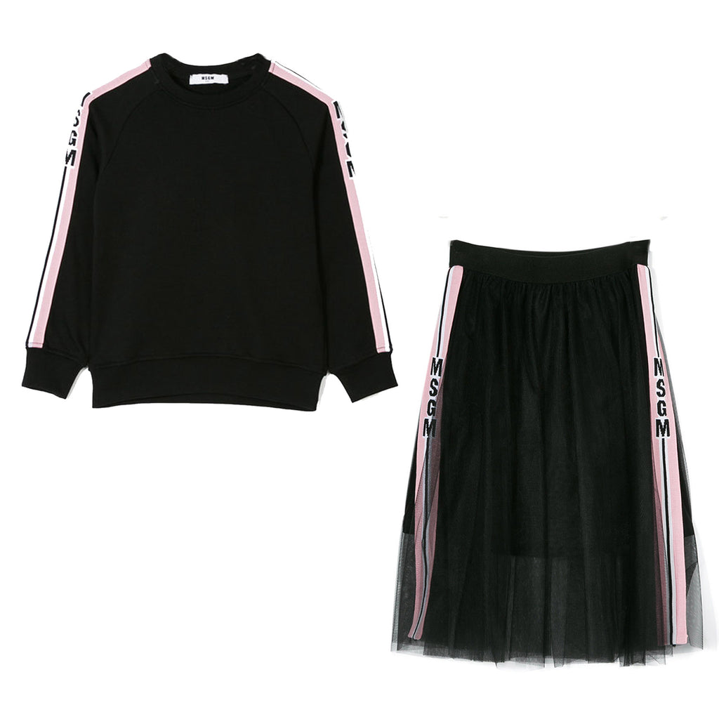 Black Side Stripe & Logo Sweatshirt & Skirt Set