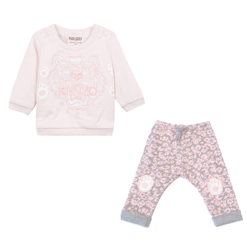 Baby 2 Pc Bear Print Footie Gift Set- Pink