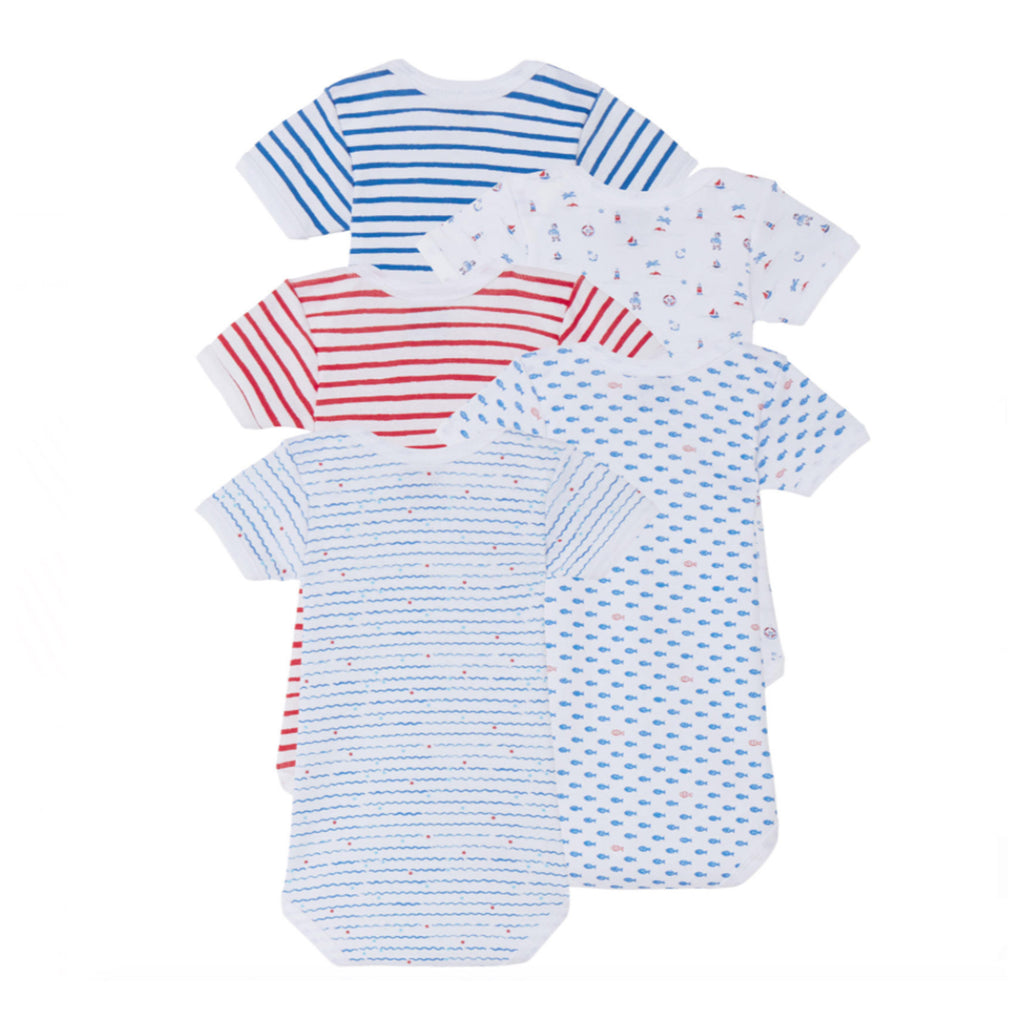 5 Piece Bodysuit Set- Blue & Red