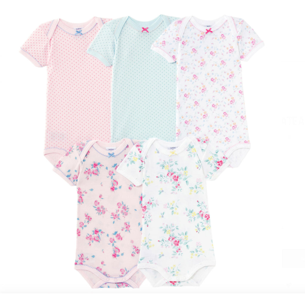5 Piece Bodysuit Set- Polka Dot & Floral