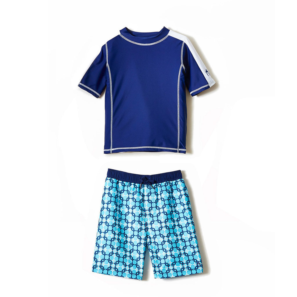 All Over Blue Print Swim Shorts Rashguard Set - Occasion Kids