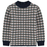 All Over Plaid Print Knit Sweater - Occasion Kids