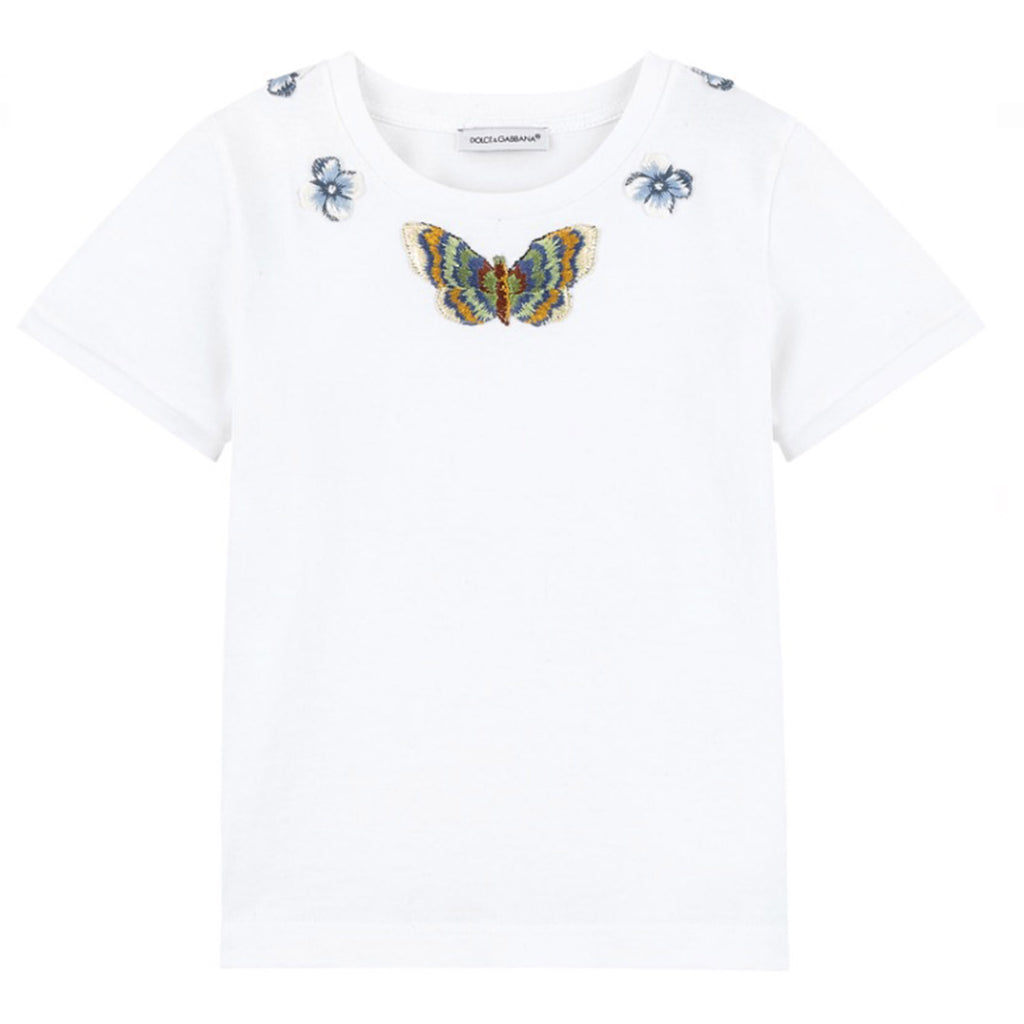 Girls T Shirt With Flowers Butterfly Patches Occasion Kids
