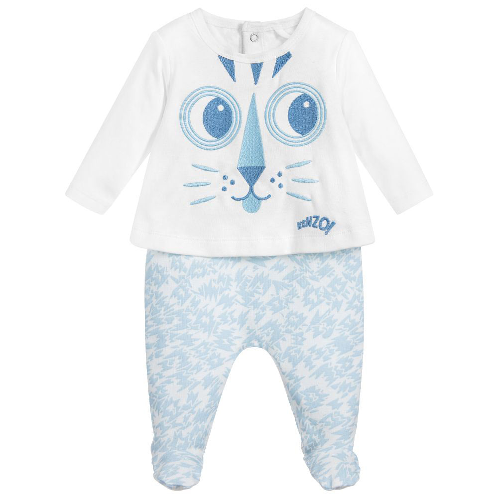 Baby Blue Tiger Organic Cotton Footie