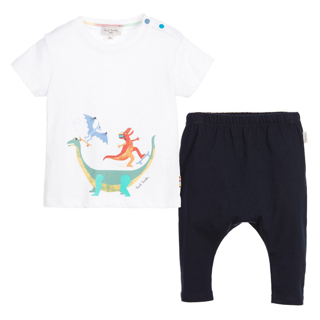 Baby Boys White & Blue Outfit Set