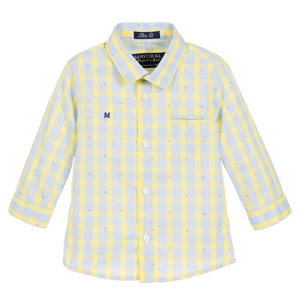 Baby Boys Yellow & Blue Checked Shirt