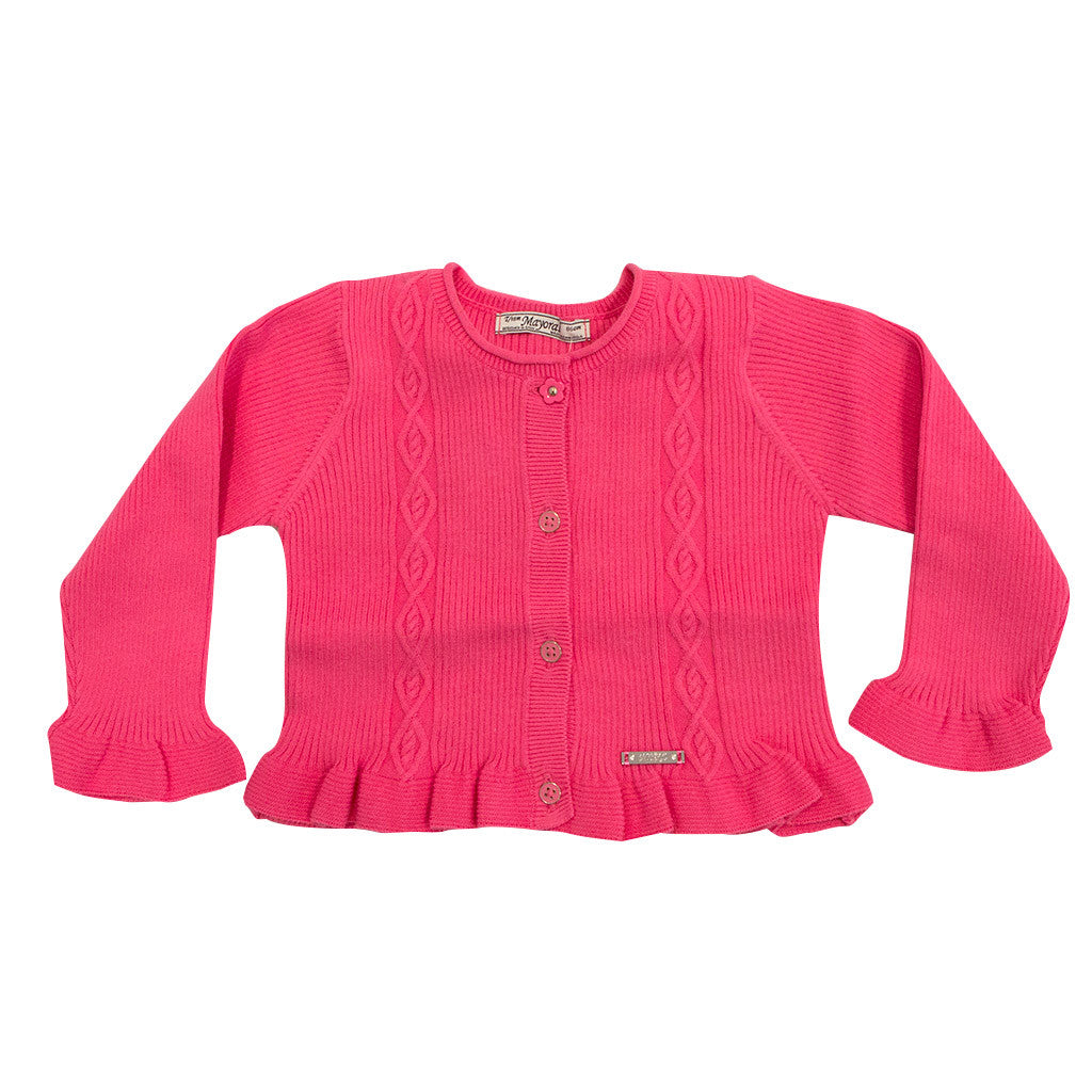 Baby Girl Pink Rib Knit Cardigan
