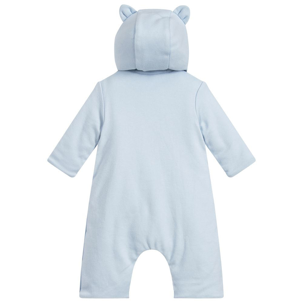 Baby Hooded Embroidered Tiger Playsuit- Blue