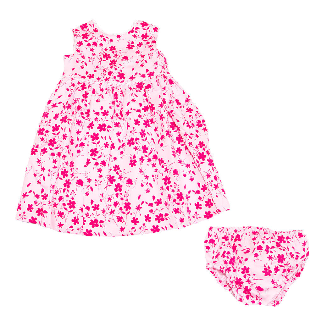 Girls Pink Floral Dress & Cardigan Set