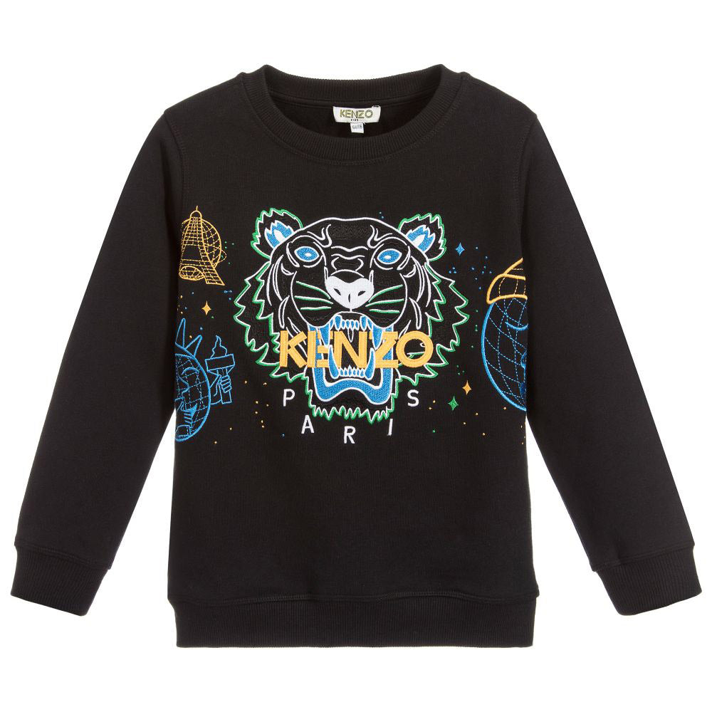 Black Embroidered Tiger Sweatshirt