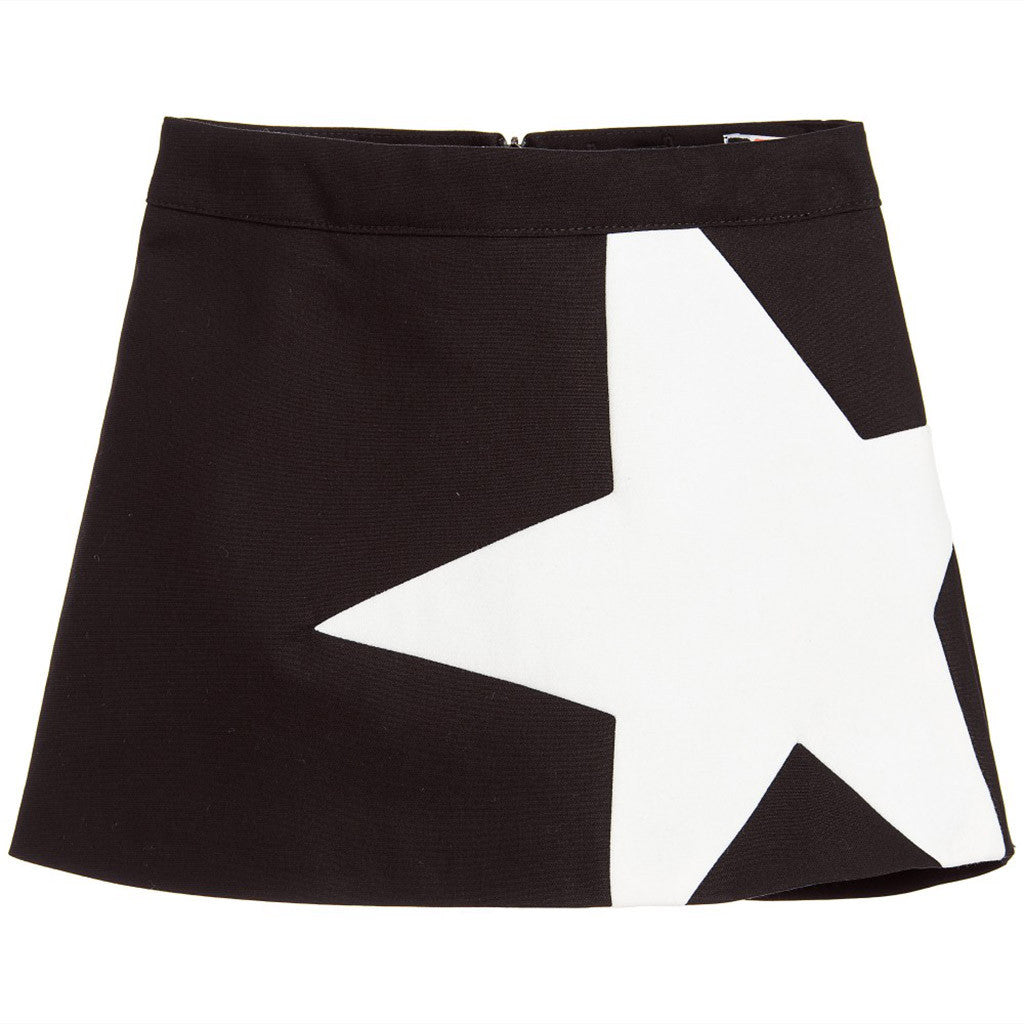 Black & Ivory Cotton Star Skirt - Occasion Kids