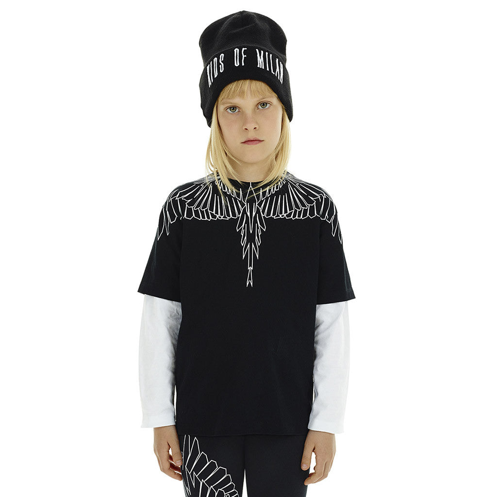 Black T-Shirt with Outline Wings - Occasion Kids