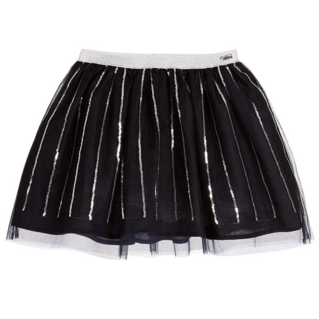 Black Tulle Skirt with Silver Sequined Stripes - Occasion Kids