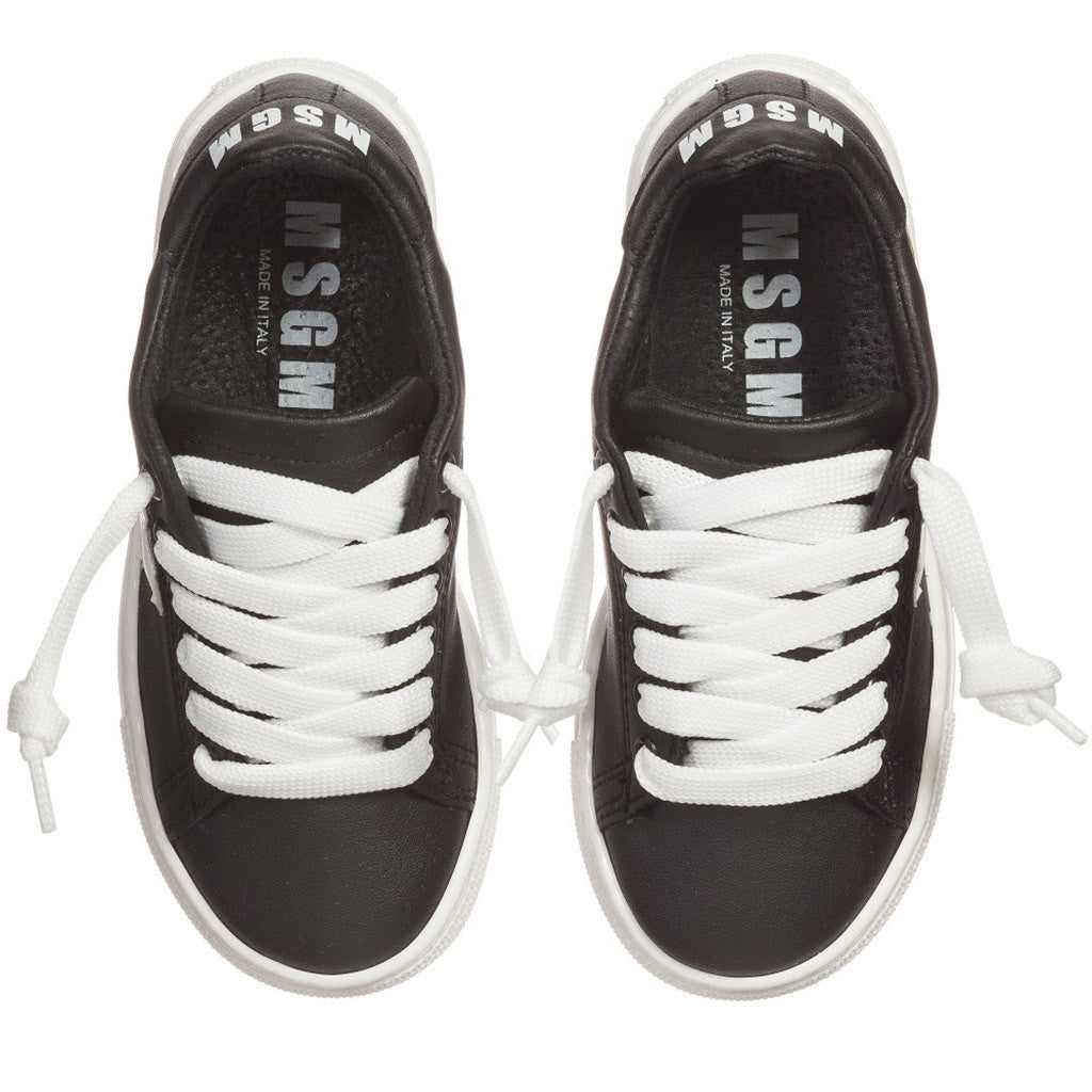 Black & White Lace-Up Trainers - Occasion Kids