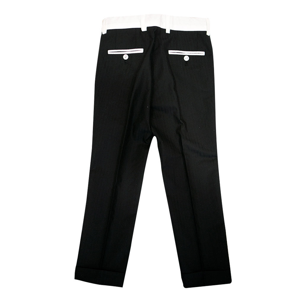 Black Dress Pants with White Details