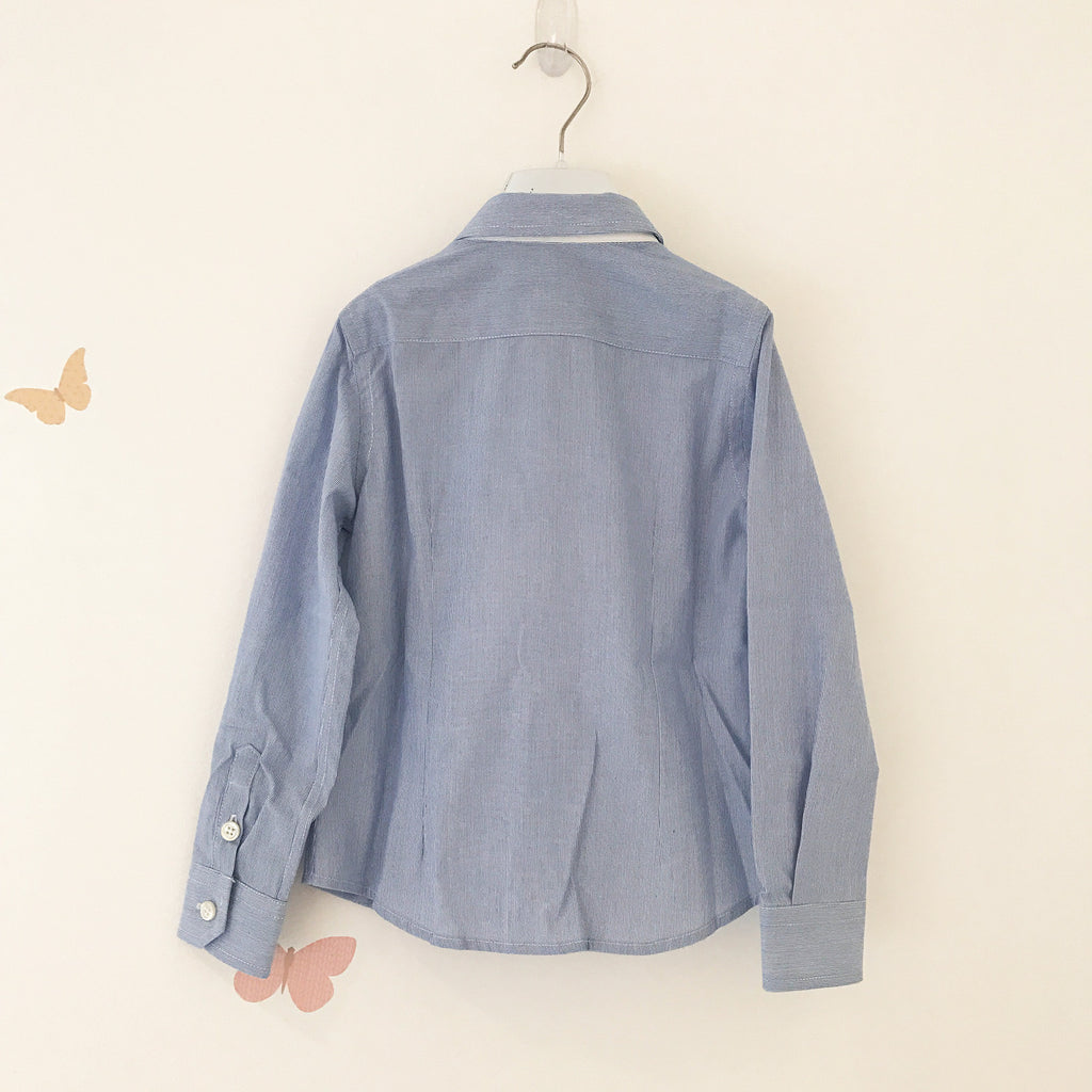 Boys Blue Button Up Shirt with Logo