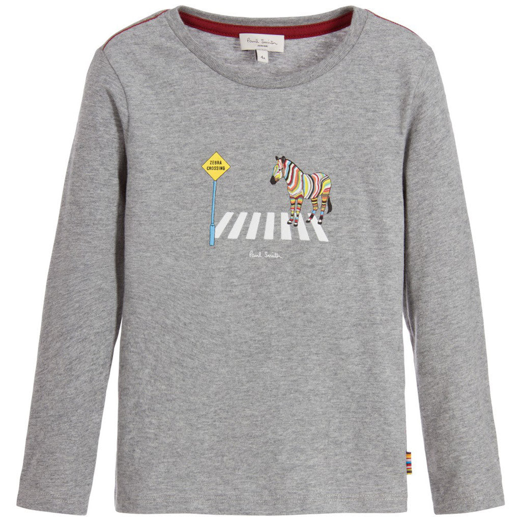 Boys Grey Zebra Cotton Top