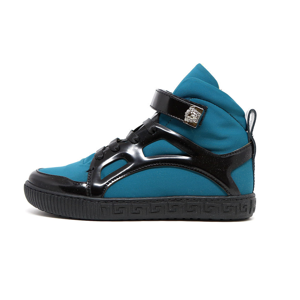 Boys High Top Velcro Sneakers with Medusa