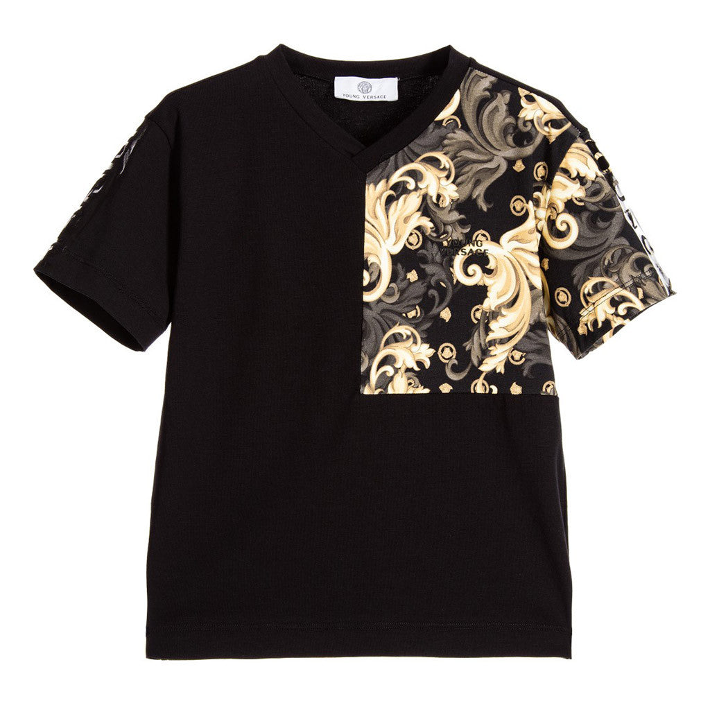 Boys Short Sleeve T-Shirt w/ Partial Barocco Print Black