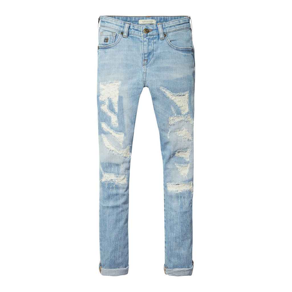 Boys Light Wash Distressesd Skinny Jeans  Occasion Kids-8127