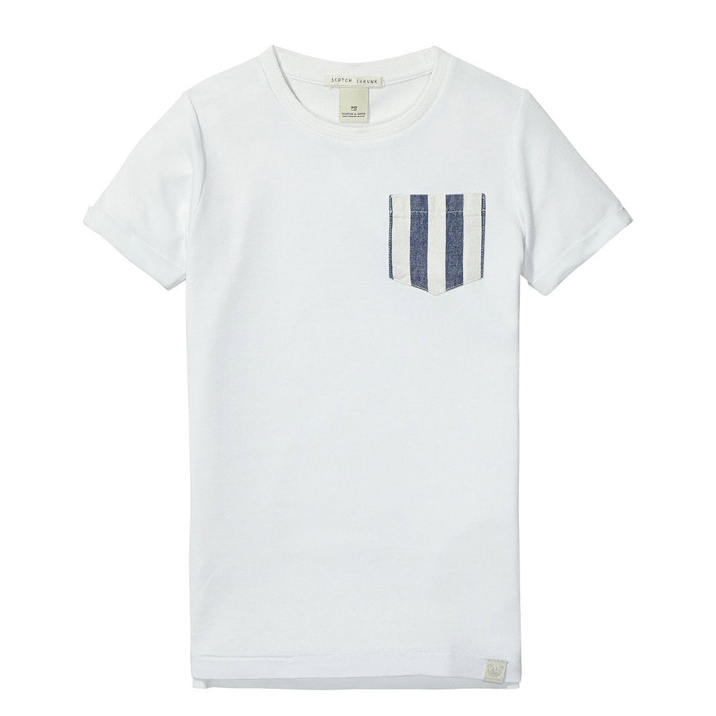 Boys White Tee with Contrast Stripe Pocket