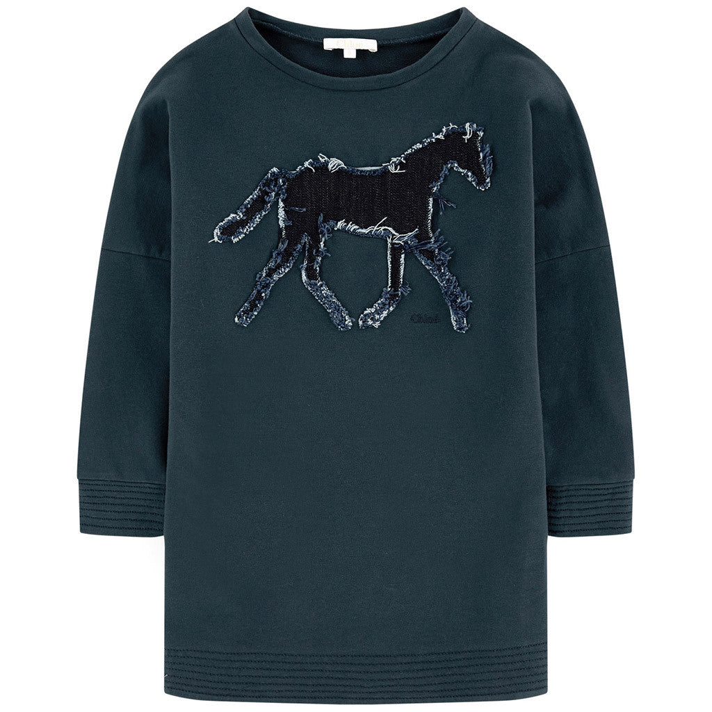 Chic Horse Denim Patch Sweatshirt