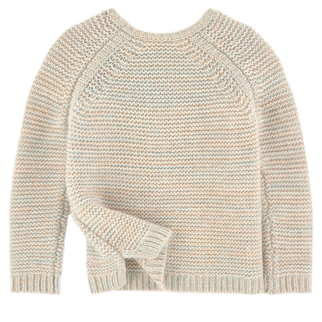 Chunky Knit Sweater w/ Franges Sand