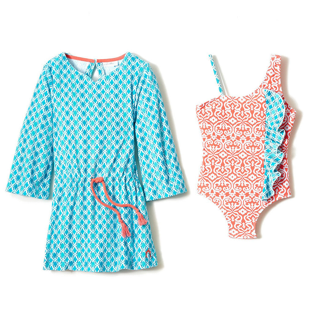 Coral Seas Swimsuit and Terry Cover Up Set