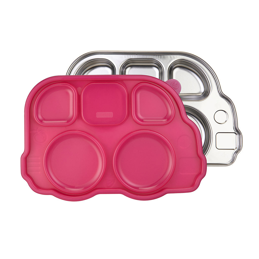 Din Din SMART™ Stainless Divided Platter with Sectional Lid - Pink