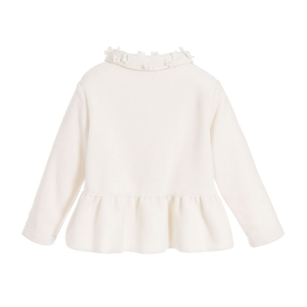 Baby Girls Fleece Coat with Floral Detailing
