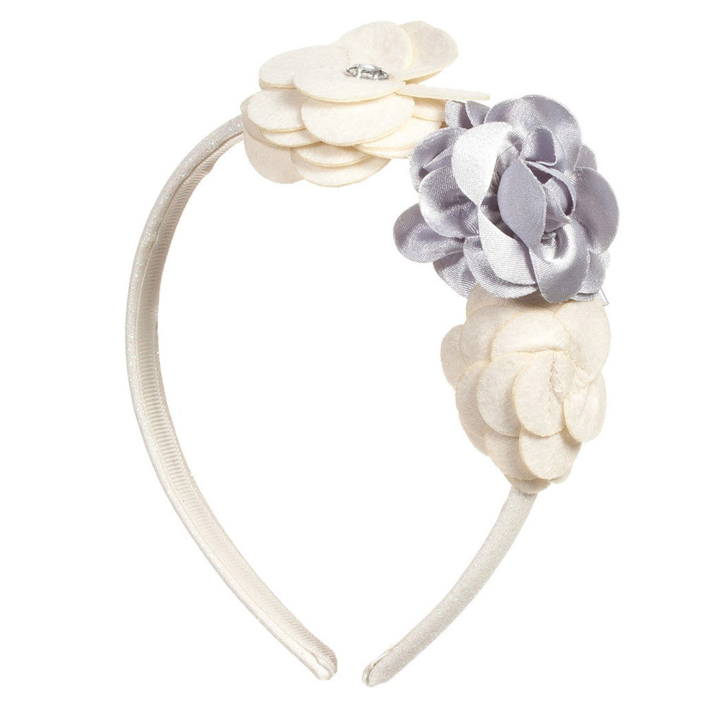Girls Ivory & Gold Floral Hairband