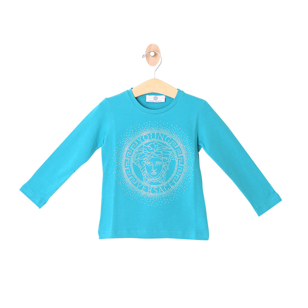 Girls Long Sleeve Tee w/ Medusa Logo Peacock Green