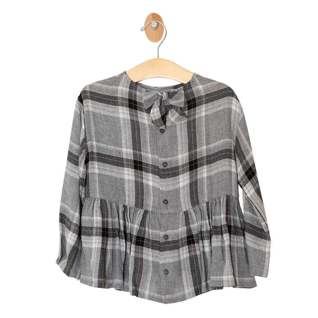 Girls Plaid Ruffle Top