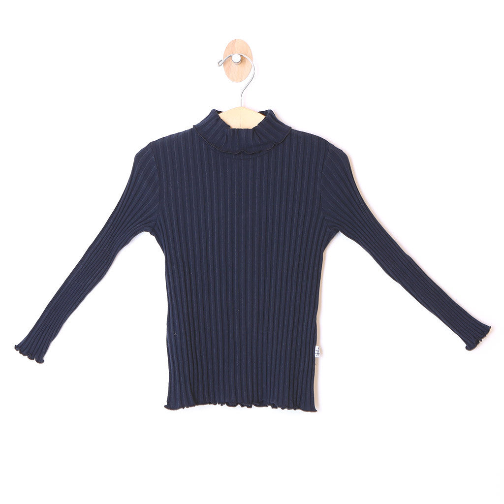 Girls Ribbed Turtleneck Navy Blue