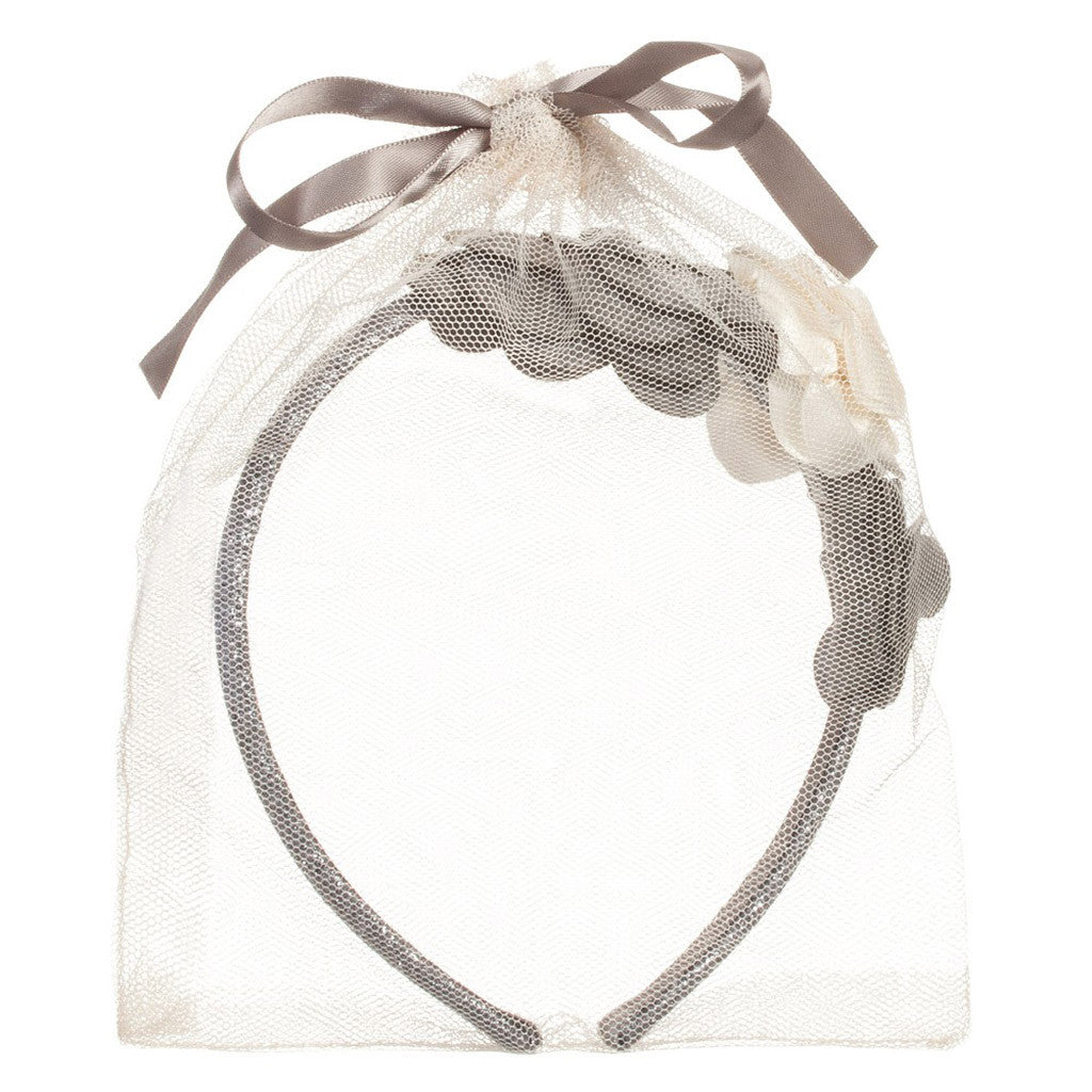 Girls Silver & Grey Floral Hairband