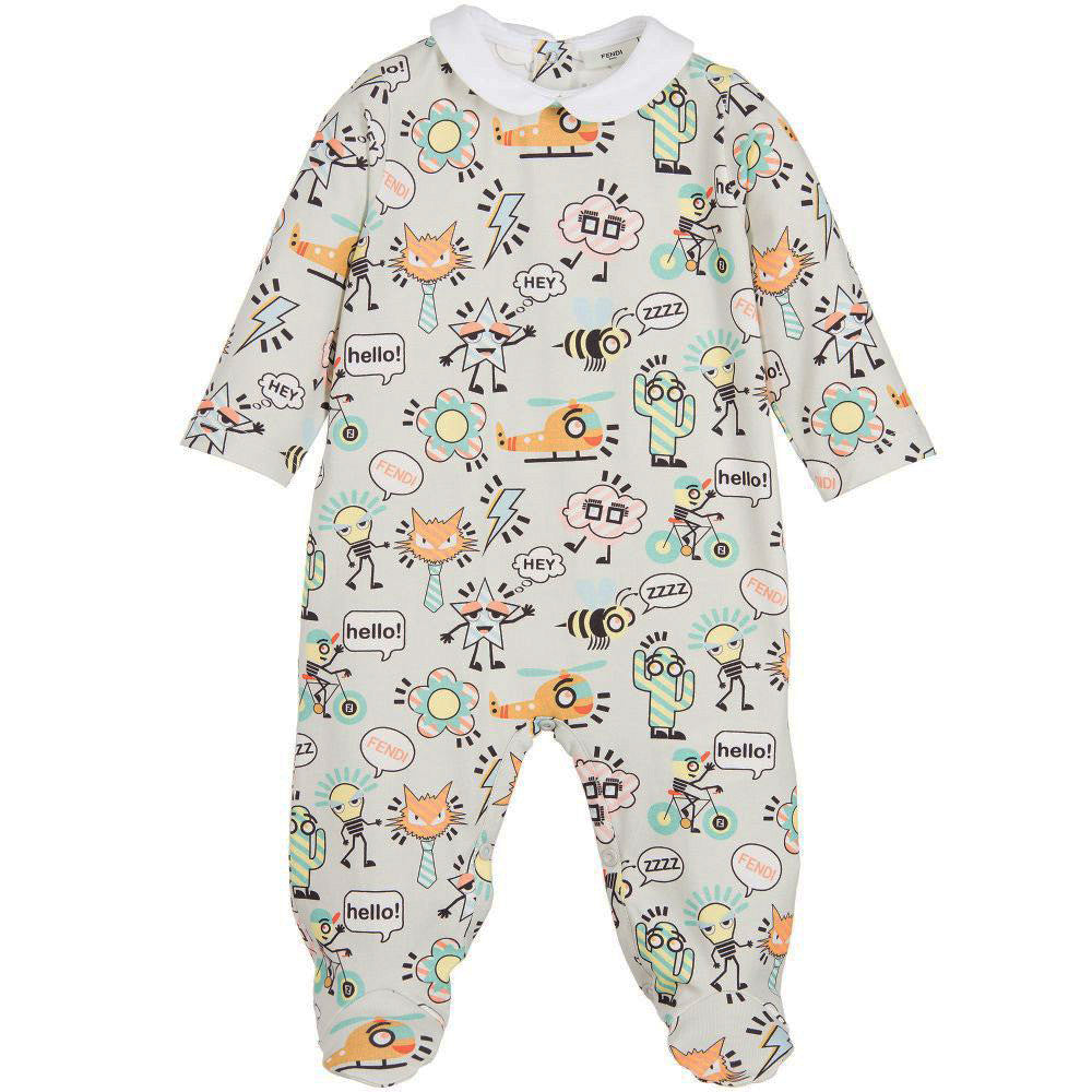 Baby Gray All Over Print Collared Footie