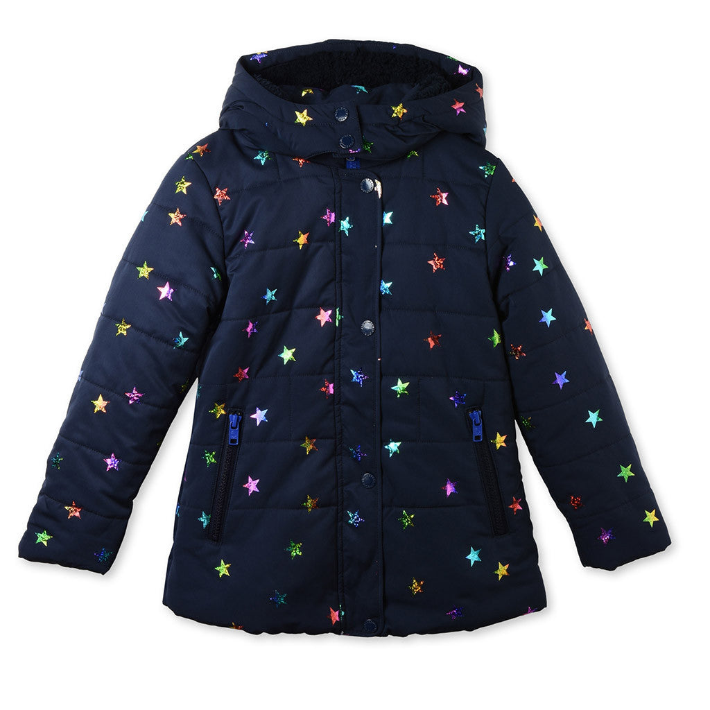 Hollie Long Puffer Foil with Stars