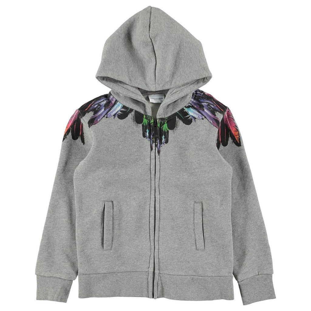 Hooded Zip Up Sweatshirt w/ Multi Color Design Gray