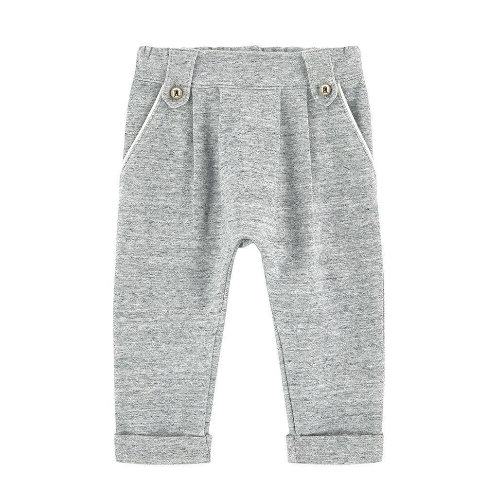 Joggings Style Trousers w/ Piping Details Gray
