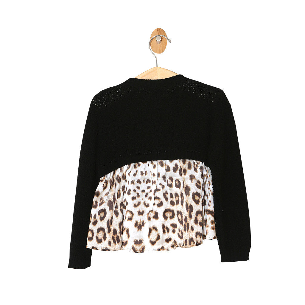 Knit Cardigan with Leopard Print