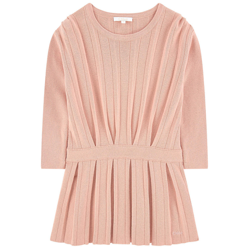 Knitted Dress w/ Pleats Details Pink
