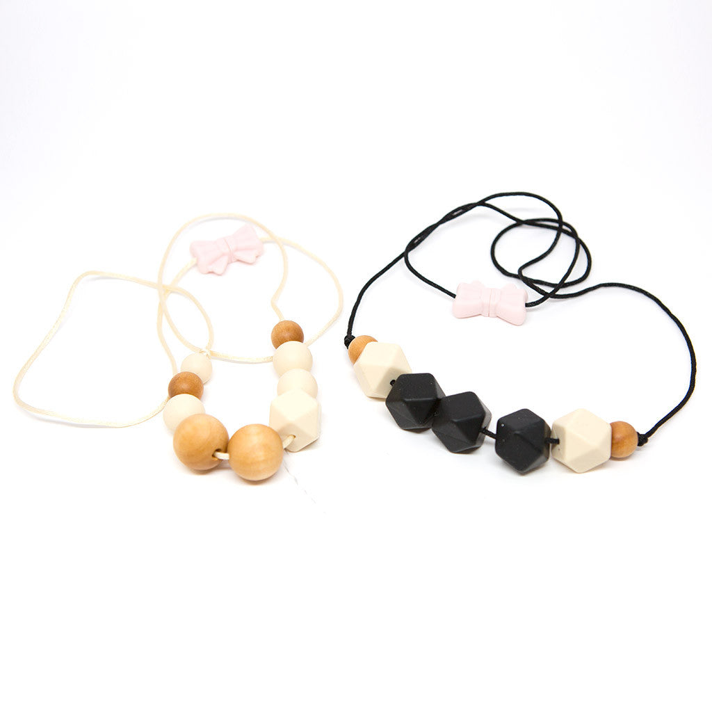 Quadra Wood + Silicone Teething Necklace - Beige