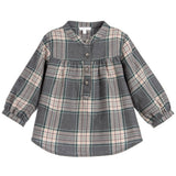 Long Sleeves Check Pattern Blouse Gray