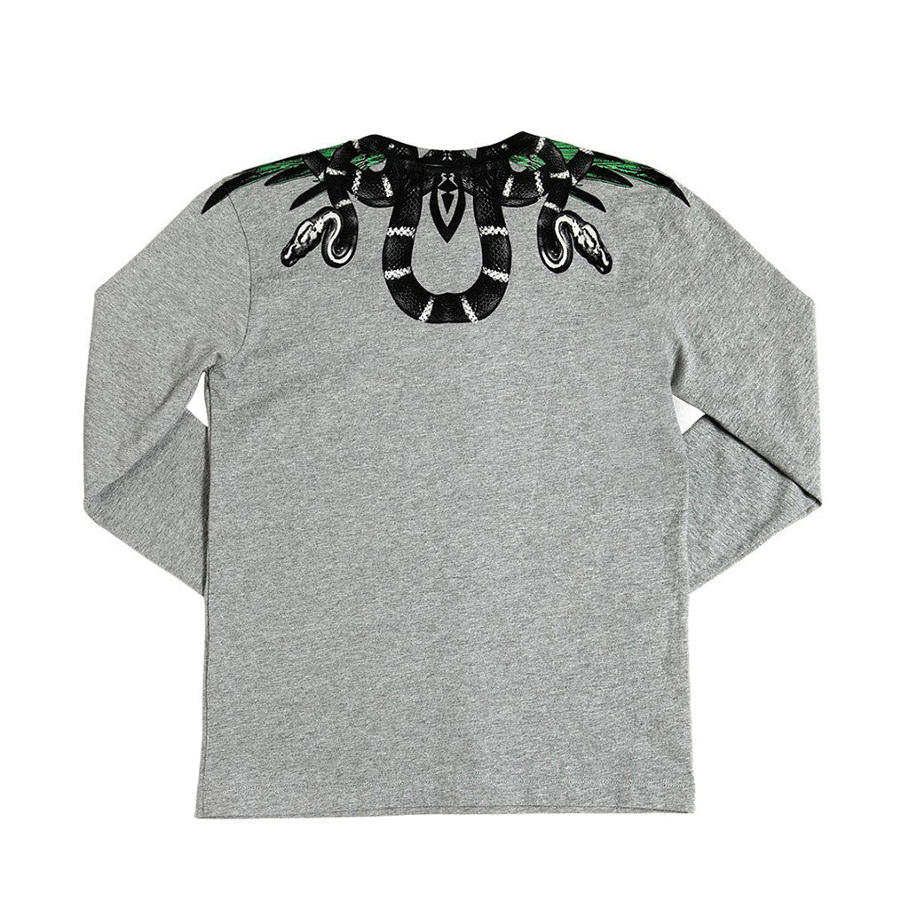 Long Sleeves T-Shirt w/ Snake Design Gray