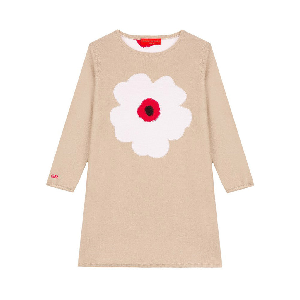 Long Sleeves Wool Dress w/ Flower Design Brown