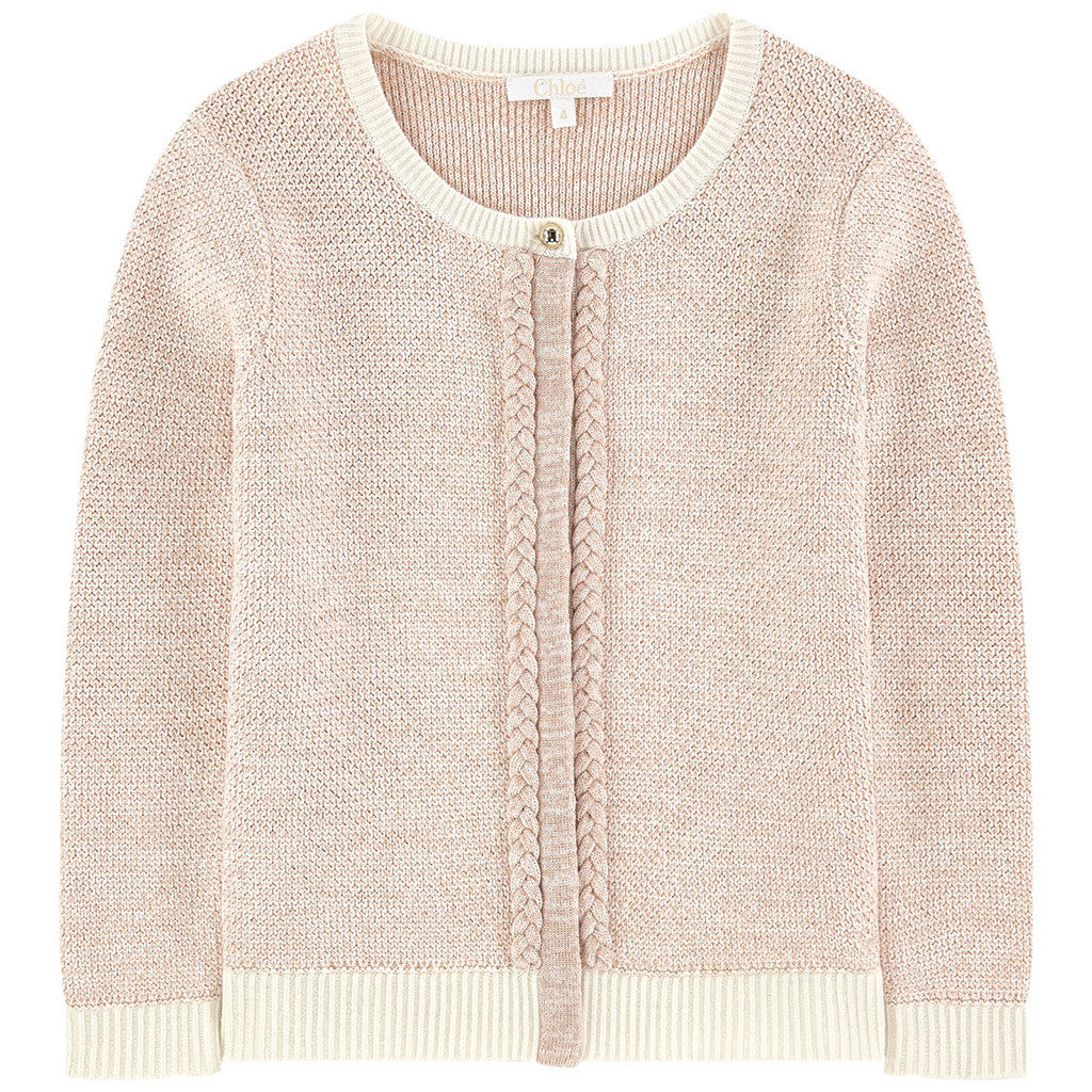 Lurex and Knitted Cardigan w/ Braids Details Pink
