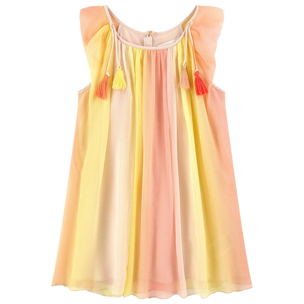 Mini Me Rainbow Striped Yellow Dress