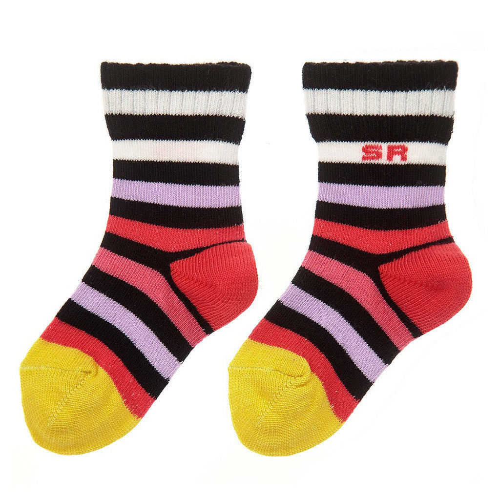 Multi Striped Black Socks